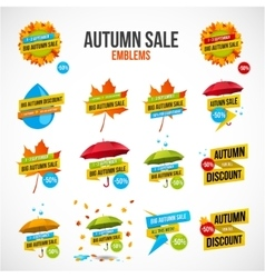 Autumn Sale Discount Logos or Emblems Set vector