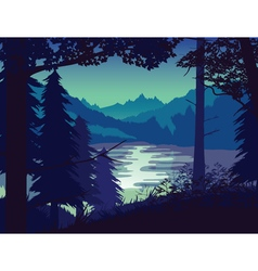 Background landscape with river forest and vector