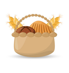 Basket bread freshbreakfast food vector