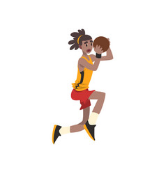 Basketball player in uniform playing with ball vector