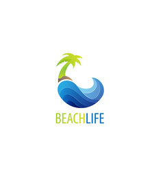 beach life logo design vector image