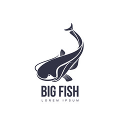 big fish flat icon pictogram silhouette vector image