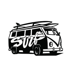 Black surfing badge vector