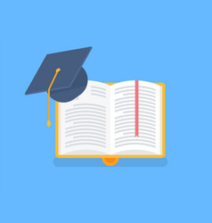 book in yellow cover with academic cap vector image