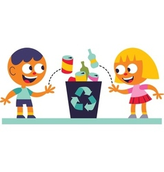 Boy and girl recycling vector image