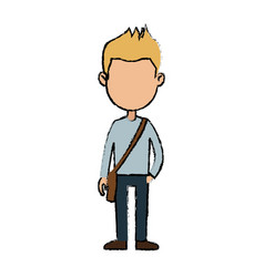 Boy cartoon student young character with bag vector