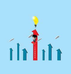 businessman with lightbulb and red arrow vector image
