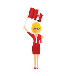 canadian woman waving a flag vector image