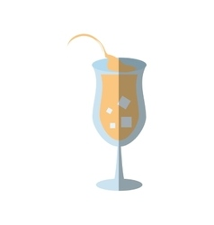 Cartoon cocktail glass juice sign shadow vector