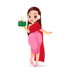 cartoon woman with loy krathong festival culture vector image