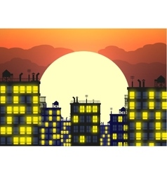 City skylines in late evening vector