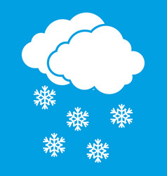 Cloud and snowflakes icon white vector
