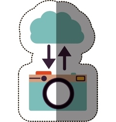 Color sticker with cloud service with personal vector