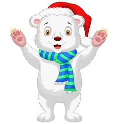 Cute baby polar bear cartoon wearing red hat vector image