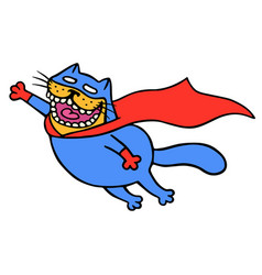 cute super cat in a raincoat is flying to save vector image
