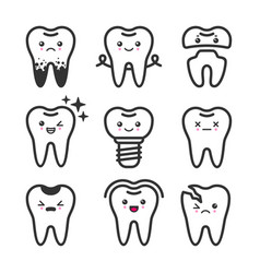 cute teeth outline set with different vector image