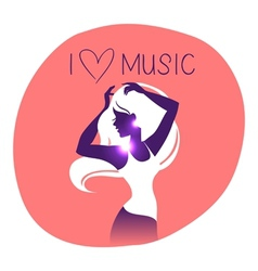 Dance music girl silhouette vector