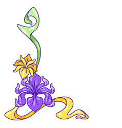 decorative element with iris flowers art nouveau vector image
