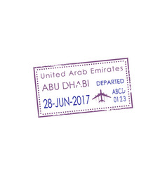 Departed stamp dubai uae airport isolated visa vector