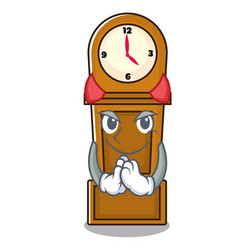 Devil grandfather clock mascot cartoon vector