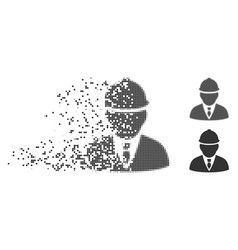 Disintegrating pixel halftone engineer icon vector