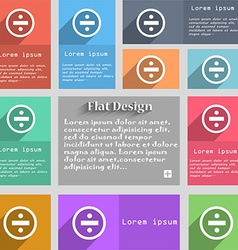 Dividing icon sign set multicolored buttons vector