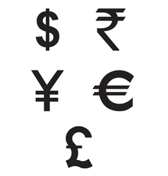 Dollar Euro Rupees Pound and Yen currency icons vector