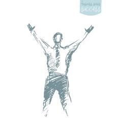 Draw success businessman raising arm winner vector image