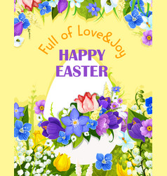 Easter egg paschal flowers greeting card vector