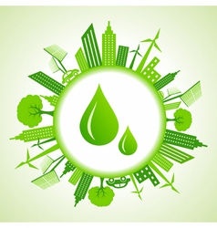 Eco cityscape around water drops vector