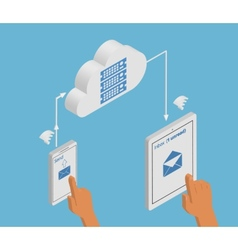 email synchronization smartphone and tablet pc vector image