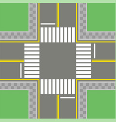 empty asphalt crossroad with marking walkways vector image