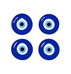 Evil eye set glass islamic arabian or turkish vector