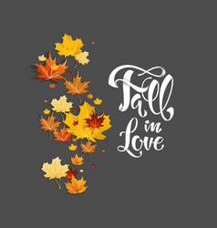 Fall leaves on dark background vector