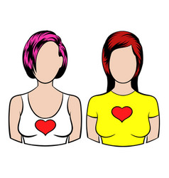 female couple icon icon cartoon vector image