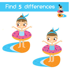 find the differences educational children game vector image