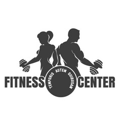Fitness center emblem with silhouettes of vector