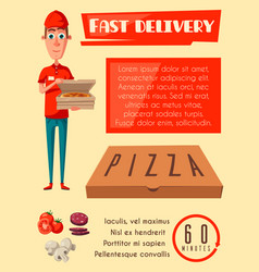 Flat poster for pizza fast food delivery vector