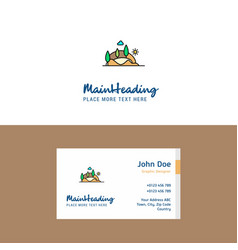 flat scenery logo and visiting card template vector image