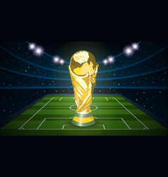 football trophy cup on empty football field arena vector image