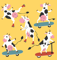 Funky cows on skates and kick scooters vector