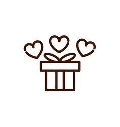 gift box celebration love heart romantic feeling vector image