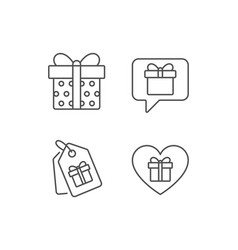 Gifts line icons present speech bubble vector