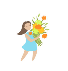 girl with flowers character on white vector image