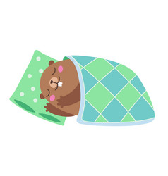 Groundhog sleeping under a blanket flat vector