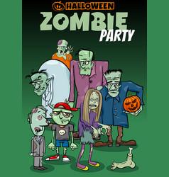 halloween holiday cartoon poster or invitation vector image