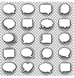 Hand drawn set speech bubbles halftone vector