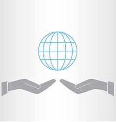 Hands and earth icon vector