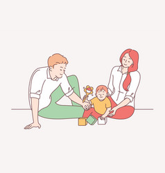 Happy family with child parenthood childhood vector