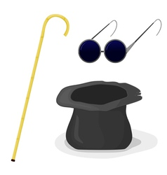 Hat cane and glasses vector